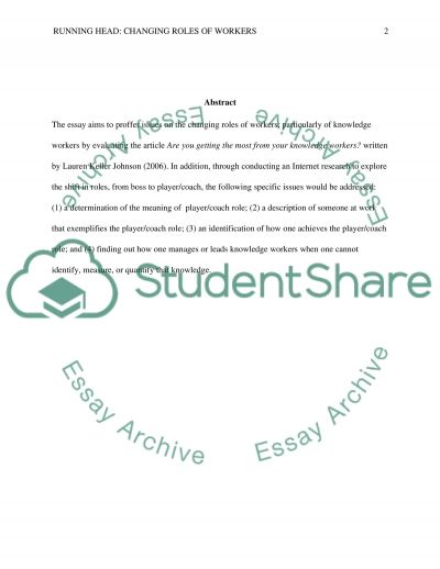 Changing Roles of Worker essay example