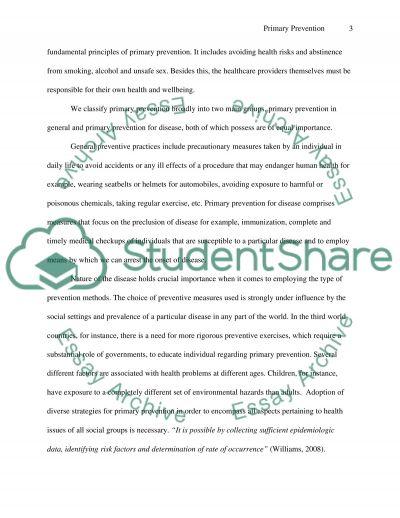 Primary Prevention essay example