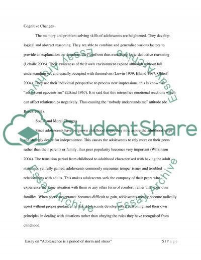 adolescence is a period of storm and stress essay  text preview