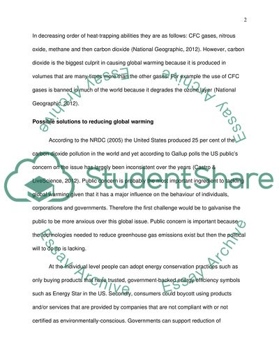 Report Global Warming Essay Example  Topics And Well Written  Report Global Warming