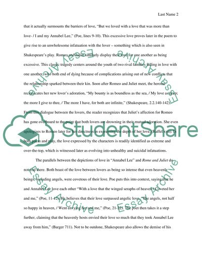 Literature Comparison Paper Of Annabel Lee Essay Literature Comparison Paper Of Annabel Lee Essay With Thesis also Essay Sample For High School  Essay Proposal Template