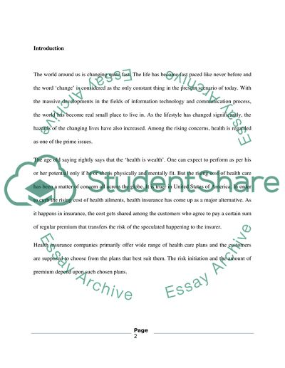 Dissertation report on life insurance