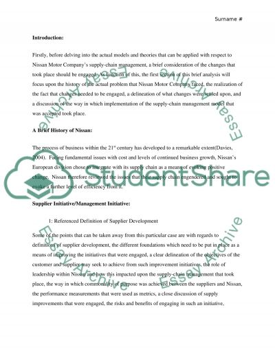Supply Chain Management Essay example