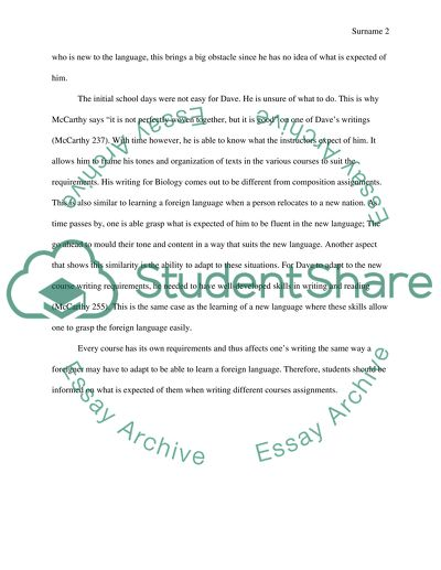 Response to A Stranger in Strange Lands: A College Student Writing across the Curriculum