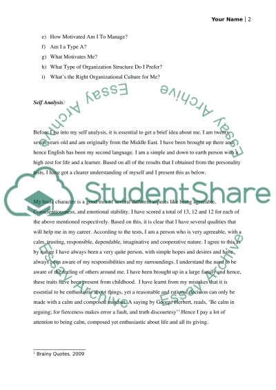 Management (Self-Analysis & Professional Development Plan) essay example