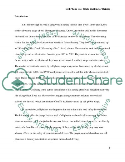Danger of Cell Phone Use essay example
