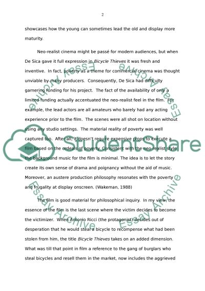 Bicycle Thieves essay example