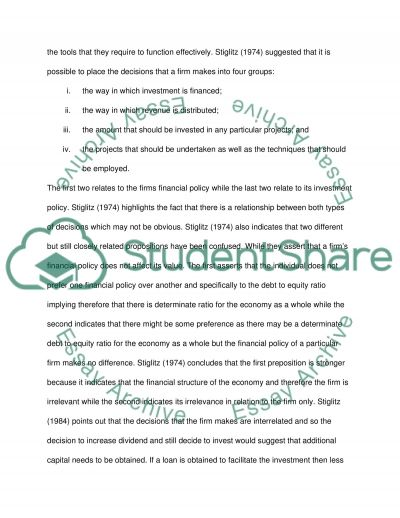 Financial Policies and the Value of the Firm essay example