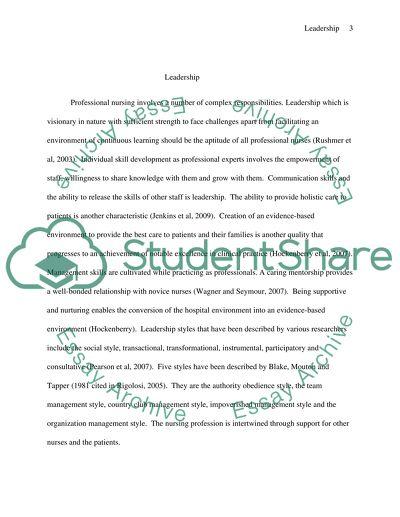 Topic 3: Leadership Styles in Professional Nursing
