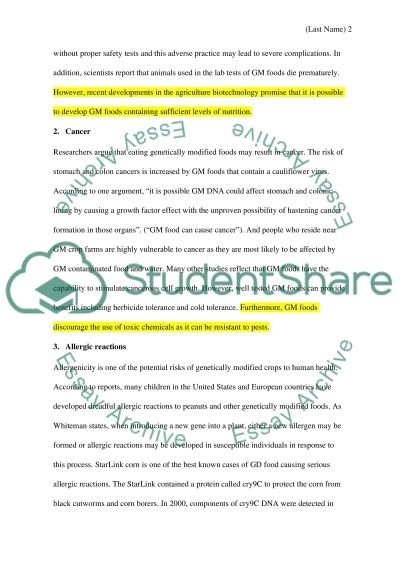 Persuasive speech-Genetically Modified Foods essay example