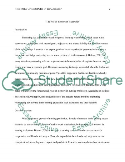 The Role of Mentors in Leadership essay example