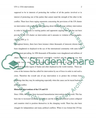 United Nations and USA Interventions essay example