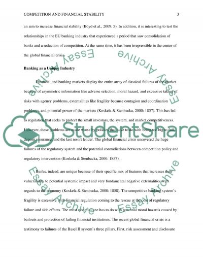 COMPETITION AND FINANCIAL STABILITY essay example