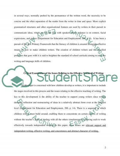 Children as Writers: Issues Relating to Effective Teaching of Writing essay example