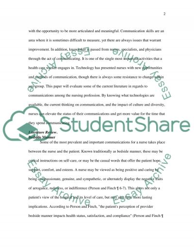 Communication in the Nursing Profession essay example