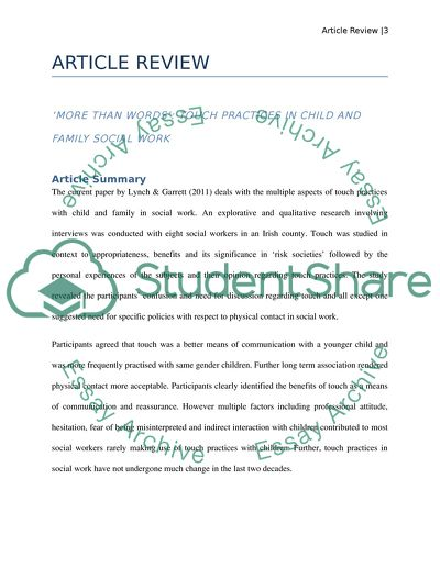 Article review, summary, critique and reasons for choosing this article