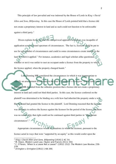 Land Law essay example