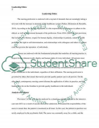 Leadership Ethics Essay essay example