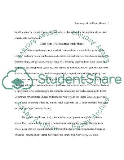 Booming of Real Estate Market essay example