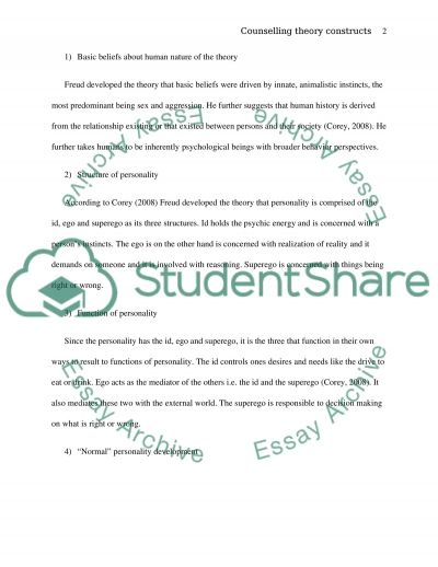 TEN COUNSELING THEORY CONSTRUCTS essay example