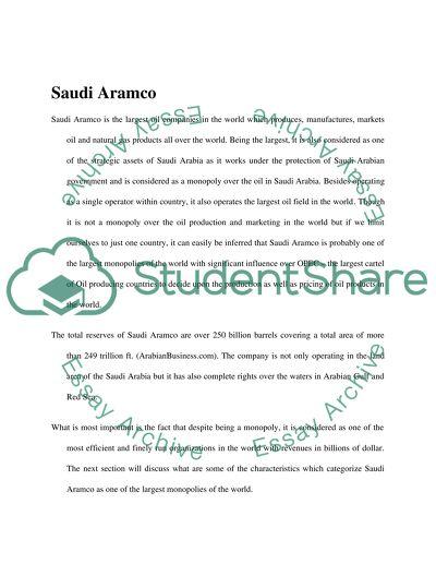Economic Activity of the Saudi Aramco Company, as a Monopoly