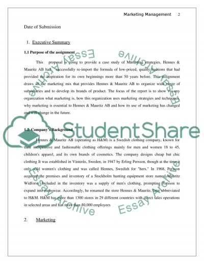 Marketing Management Research Paper essay example
