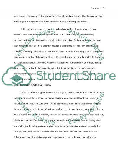 Gene Van Tassell: Classroom Management essay example