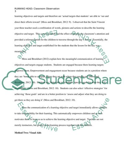 classroom observation essay example