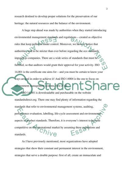 Environmental Management essay example