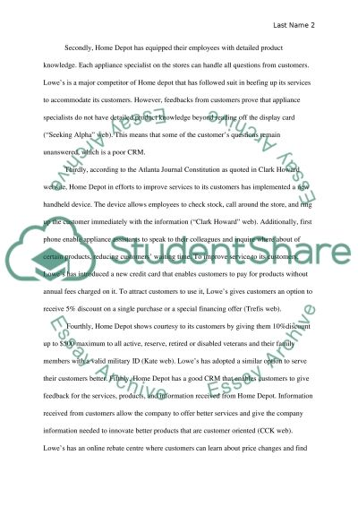 Home Depot vs Lowes essay example