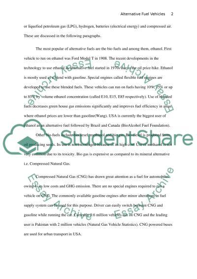 Alternative Fuel Vehicles essay example