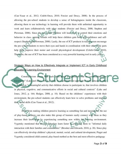Intgratinh Information and Communication Technology (ICT) effectively into the early childhood education learning environment essay example
