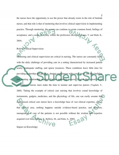 Mentoring and Clinical Supervision in Nursing Practice essay example