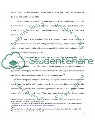 The Hague Rules Essay example