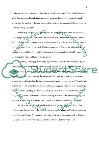 Computer Science Essays Group Decision Making Process Process Essay Thesis also Custom Essay Paper Group Decision Making Process Essay Example  Topics And Well  Private High School Admission Essay Examples