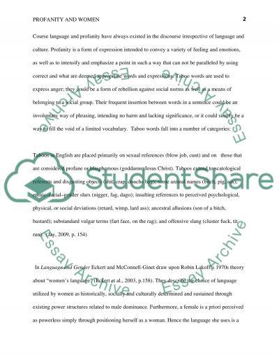 Profanity and Women essay example