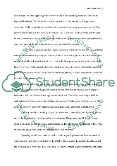Spankin children under 3years old essay example