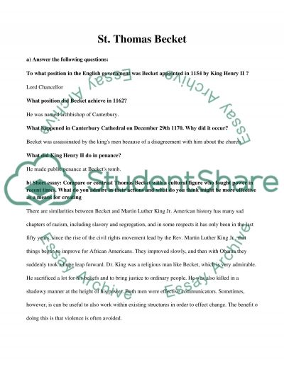thomas becket essay example topics and well written essays  related essays thomas cook