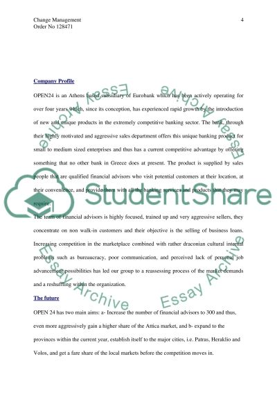Management of Change - OPEN24 essay example