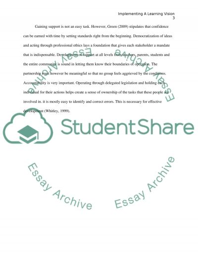 Implementing a Vision of learning essay example