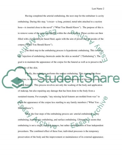 The Embalming Process essay example