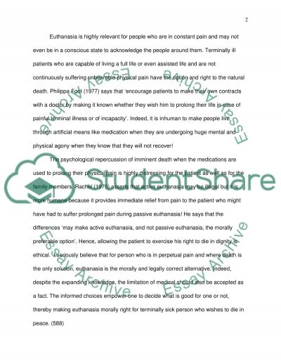 Euthanasia essay example