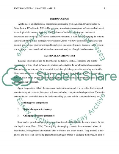 External and Internal Environmental Analysis - Apple essay example