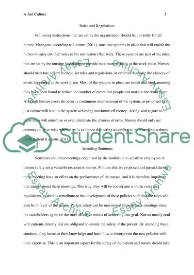 A Culture of Safety essay example