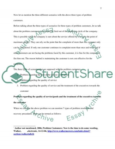 Problem Customers Essay example