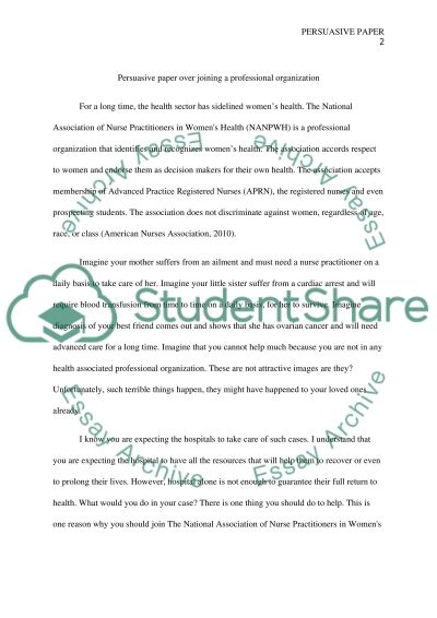 Persuasive paper over joing a professional organziation