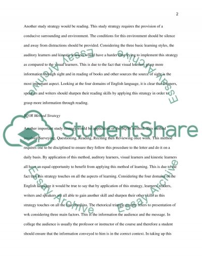 Study Strategies for Specific Course essay example