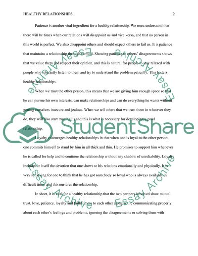 what makes a healthy relationship essay