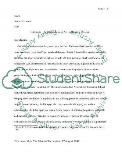 Ethics Class- Euthanasia essay example