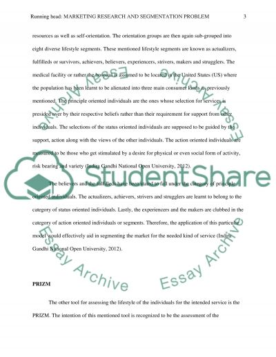 Marketing Research and Segmentation Problem Research Paper example